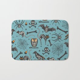 Halloween X-Ray Blue Bath Mat