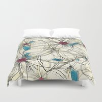 karma Duvet Covers featuring KARMA CAMELLIA by Patternmuse