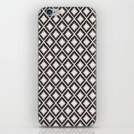 Modern black blush pink wild ethno pattern iPhone Skin