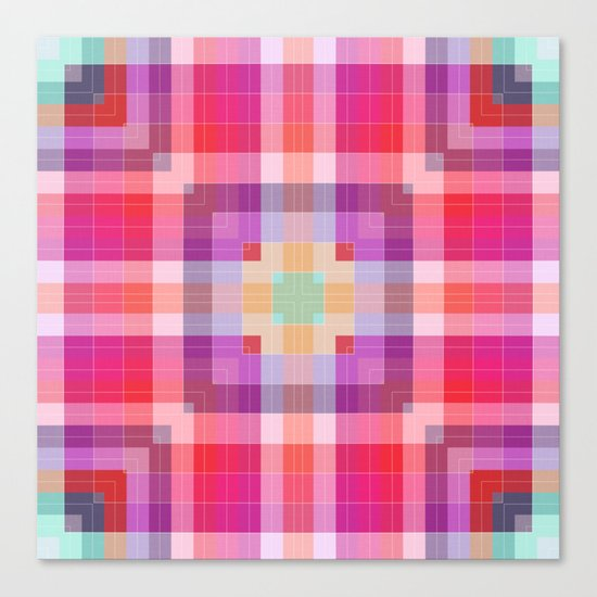 Bright Pink Geometric Canvas Print