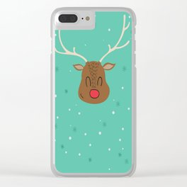 Merry Christmas and a Happy New Year Reindeer Print Clear iPhone Case