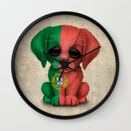 Cute Puppy Dog with flag of Portugal Wall Clock