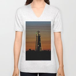 Sunset at Walton Lighthouse Santa Cruz CA Unisex V-Neck