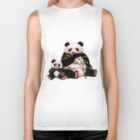 pandas Biker Tanks featuring Pandas by J ō v