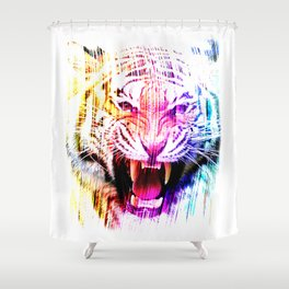 Angry tiger 01 Shower Curtain