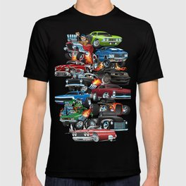 Car Madness! Muscle Cars and Hot Rods Cartoon T-shirt