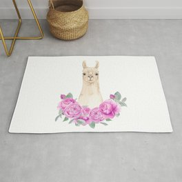 Cute white llama portrait with pink roses wreath Rug