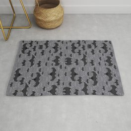 Balinese Bat Colony Print - Gray Rug