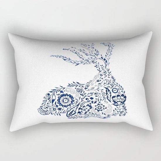 Folk Floral Indigo Deer Rectangular Pillow