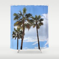 palm trees Shower Curtains featuring Palm Trees by Rebecca Bear