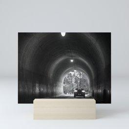 Travel photography through the tunnel black & white Mini Art Print