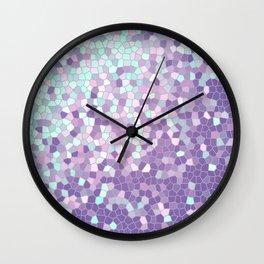 Aqua and Violet Purple Mosaic Wall Clock