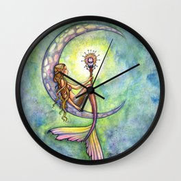 Mermaid Moon Watercolor Fantasy Art by Molly Harrison Wall Clock