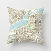 boston map Throw Pillows featuring Boston Sepia Watercolor Map by Anne E. McGraw