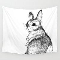 jojo Wall Tapestries featuring Ballpoint Bunny by JoJo Seames