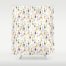 Giraffe of a different Color: white background Shower Curtain