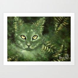 Fern Cat- El gato helecho Art Print