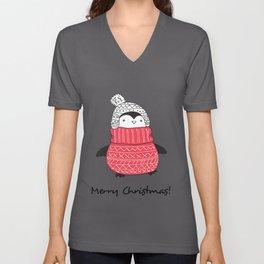 Kids Cute Christmas Penguin in Red Turtleneck Sweater Hat Unisex V-Neck