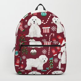 Bichon Frise Christmas dog breed pattern mittens stockings presents dog lover Backpack