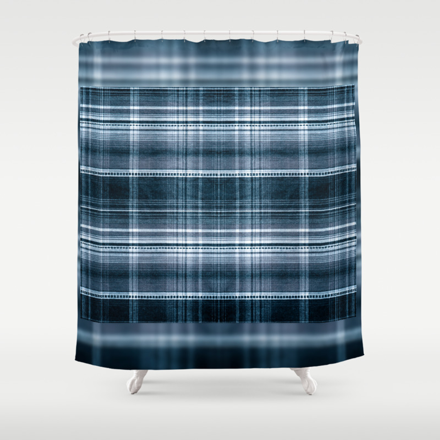 Navy Blue Checked Cotton Cloth Shower Curtain