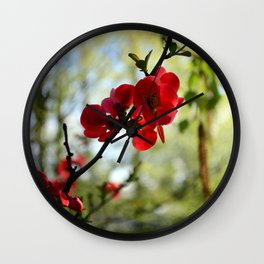 Bold Red Flower Wall Clock