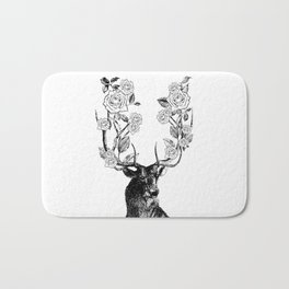The Stag and Roses | Black and White Bath Mat