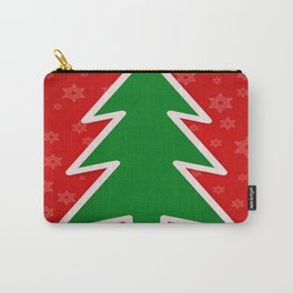 Christmas Tree on Red Background With Snowflakes Carry-All Pouch