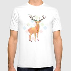 Deer and Diamonds White MEDIUM Mens Fitted Tee