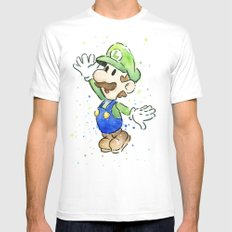 Luigi Watercolor Mario Nintendo Art MEDIUM White Mens Fitted Tee