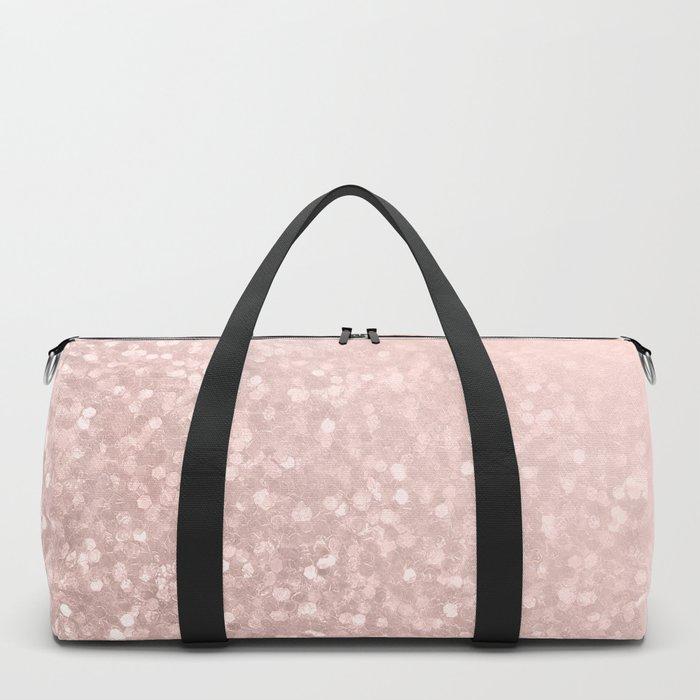 Rose Gold Sparkles on Pretty Blush Pink VI Duffle Bag