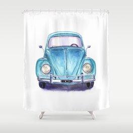 Vintage blue car Shower Curtain