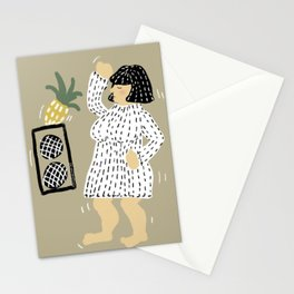 Woman dancing with pineapple Stationery Cards