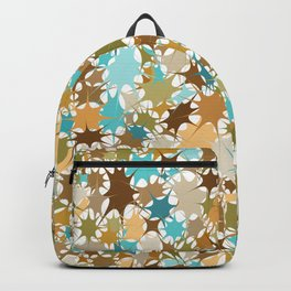 Abstract Starburst Mosaic // Turquoise, Caribbean Blue, Green, Brown // Digital Paint Splotches // V2 Backpack