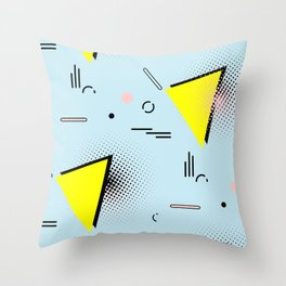Memphis blue design Throw Pillow