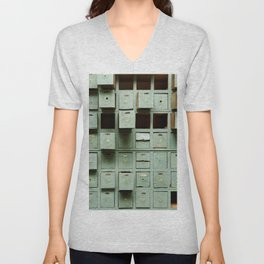 Old green wooden cabinet with drawers Unisex V-Neck