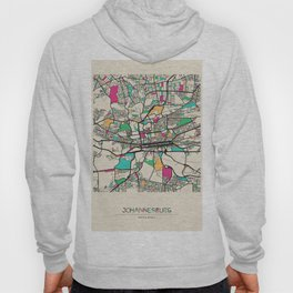 Colorful City Maps: Johannesburg, South Africa Hoody