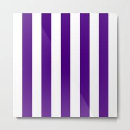 Indigo violet - solid color - white vertical lines pattern Metal Print