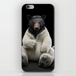Black bear wearing polar bear costume iPhone Skin