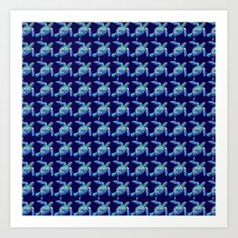 Sea Turtle Pattern Blue Art Print