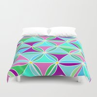 quilt Duvet Covers featuring june quilt by Ariadne