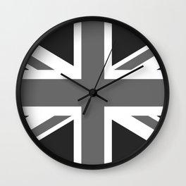 UK Flag, High Quality 1:2 Grayscale Wall Clock