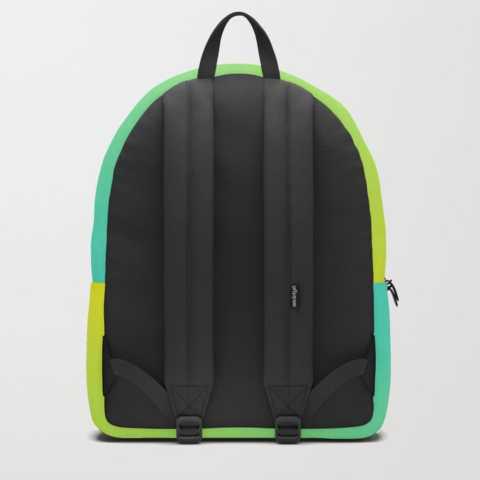 Ombre gradient illustration yellow blue green colors Backpack
