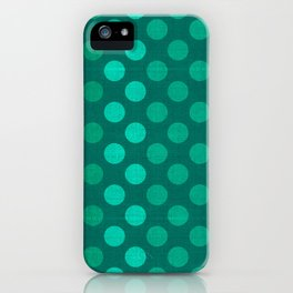 """Teal Burlap Texture & Polka Dots"" iPhone Case"