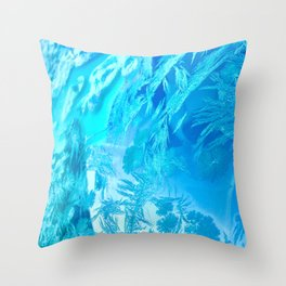 Hoar Frost in Turquoise Throw Pillow