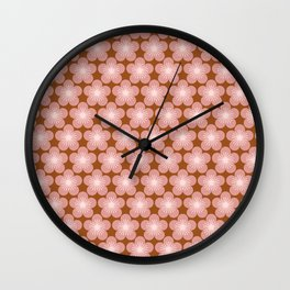 70s Retro daisies Floral Pattern Vintage Dusty Pink Bronze Wall Clock