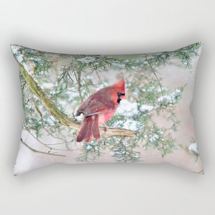 Snow Day Cardinal Rectangular Pillow