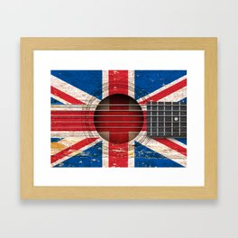 Old Vintage Acoustic Guitar with Union Jack British Flag Framed Art Print