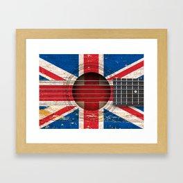Old Vintage Acoustic Guitar with Union Jack British Flag Framed Art Print