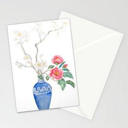 red camellia  flower white plum flower in blue vase Stationery Cards