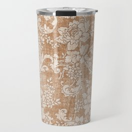 Vintage white brown grunge shabby floral Travel Mug